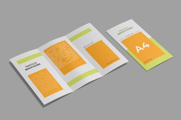 A4 3つ折りパンフレットモックアップ