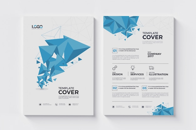 A4 abstract flyer with polygon triangles