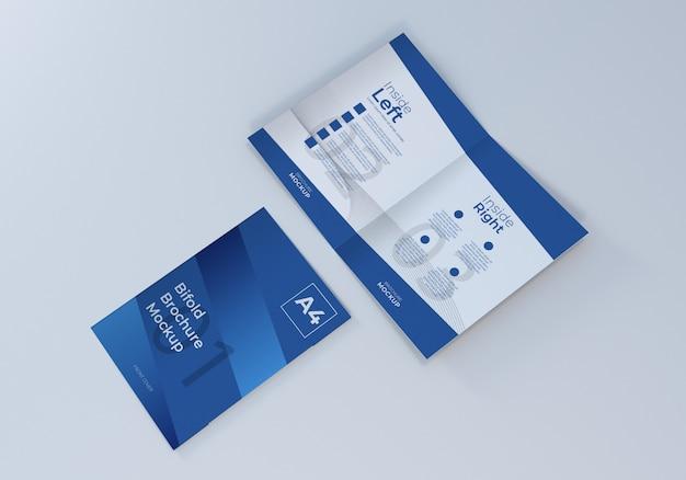 A4二つ折りパンフレットリーフレットモックアップ
