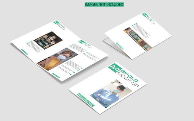 A4 bifold brochure mockup on marble top view