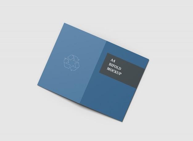 A4二つ折りパンフレットモックアップ