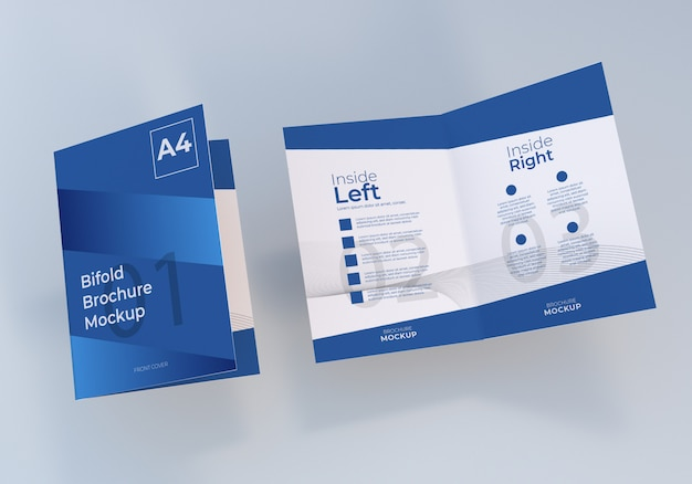 A4二つ折りパンフレット紙モックアップデザイン