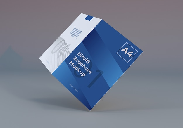 A4 bifold brochure paper mockup illustration with gray