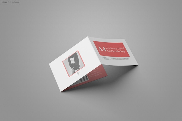 A4 brochure trifold landscape mockup design isolated