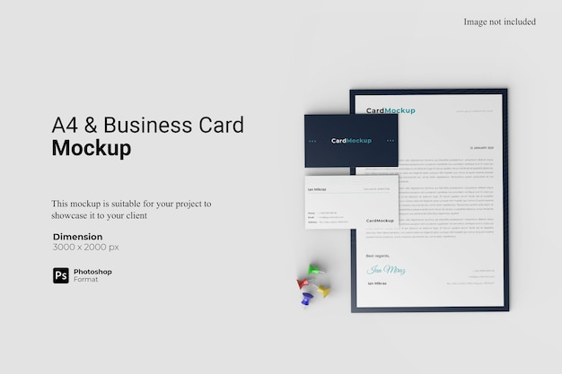 A4 and business cards mockup design isolated