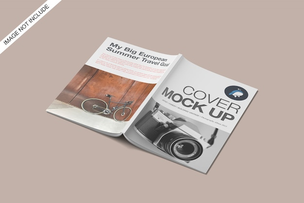 A4 cover and closed magazine mockup top angle view premium psd