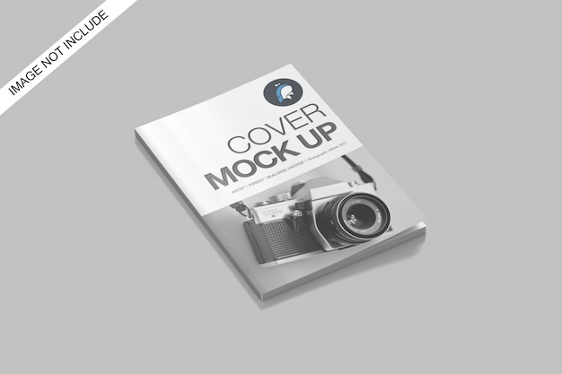A4 cover magazine mockup top angle view premium psd