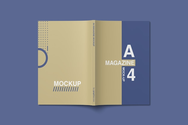 A4 cover magazine mockup top angle view