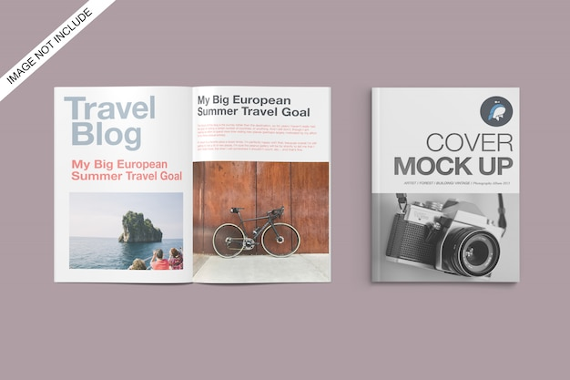 A4 cover and opened magazine mockup top angle view premium psd