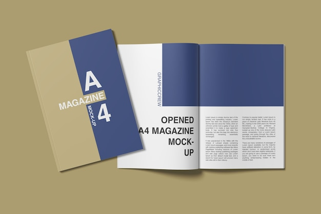 A4 cover and opened magazine mockup top angle view