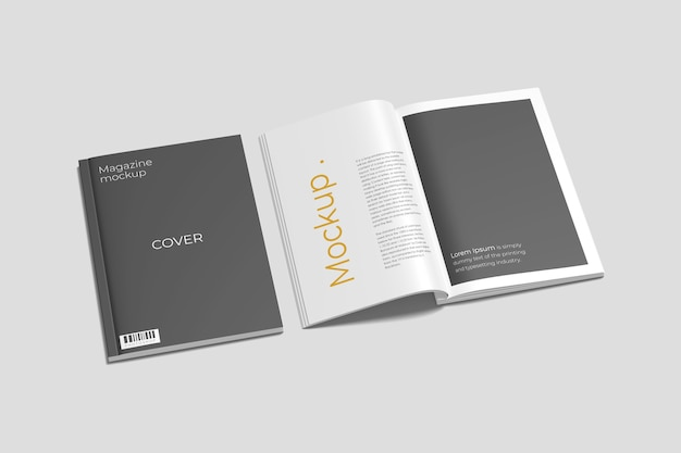 A4 cover and opened magazine mockup