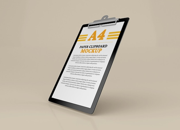 A4 document clipboard mockup design isolated