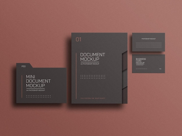 A4 document file with business card mockup