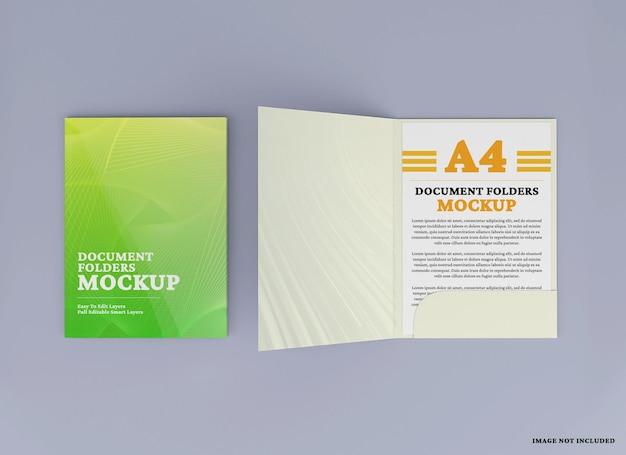 A4 document folder mockup design isolated