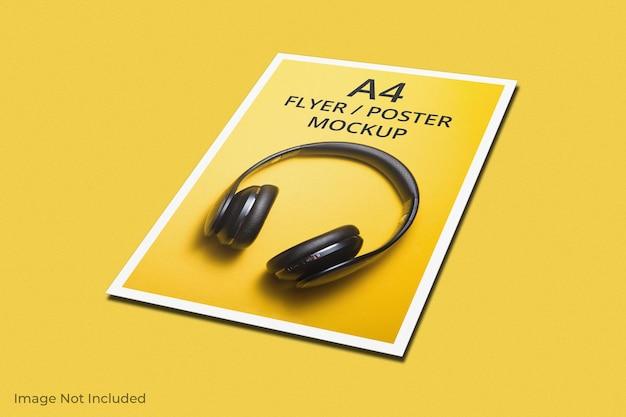A4チラシパンフレットのモックアップデザイン
