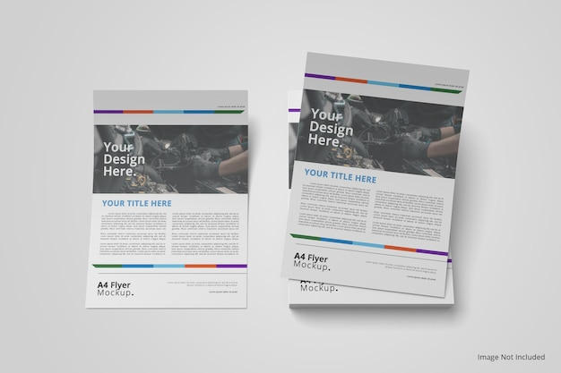 A4 flyer brochure mockup on top view