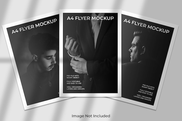 A4 flyer brochure mockup with shadow