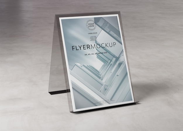 A4 flyer display stand on concrete mockup