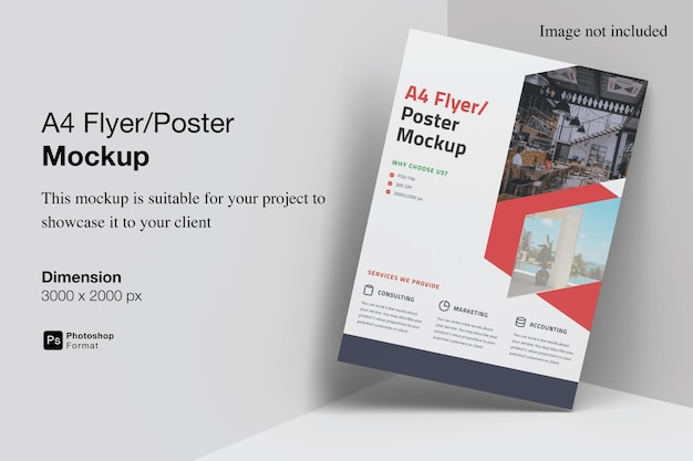 A4 flyer mockup design in 3d rendering