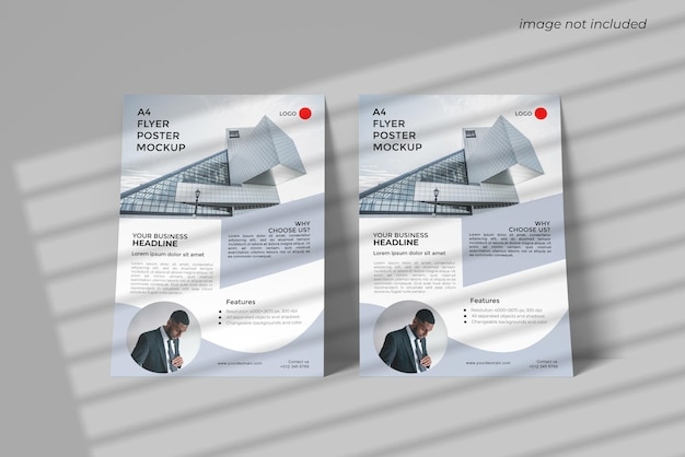 A4 flyer mockup design rendering with front angel view