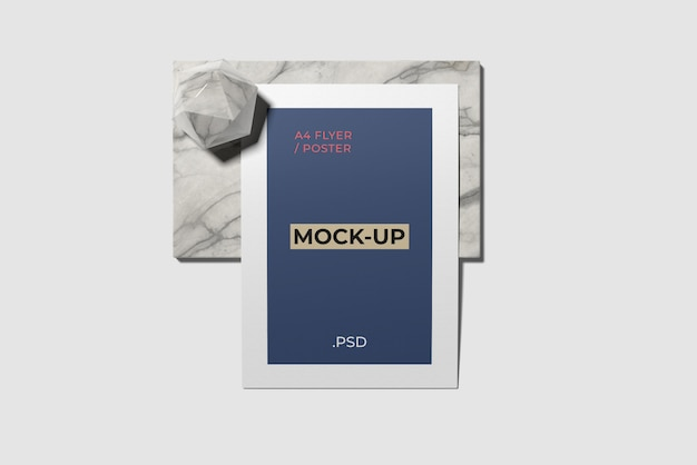 A4 flyer mockup on marble top angle view
