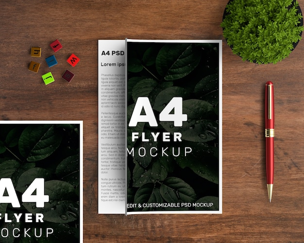 A4 flyer mockup of two