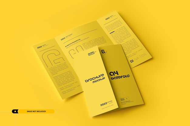 A4 gatefold brochure mockup Premium Psd