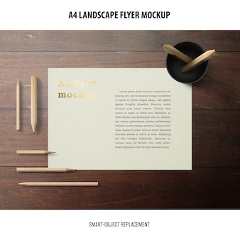 A4 landscape flyer mockup