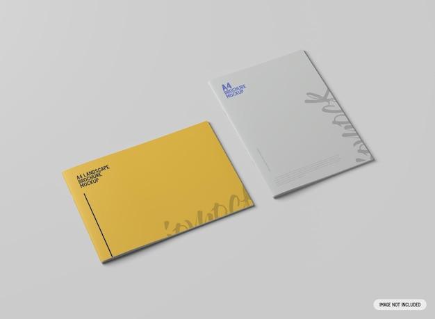 Mockup di brochure orizzontale e verticale a4