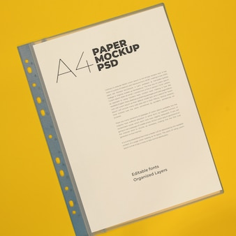 A4 letter paper in file mockup psd