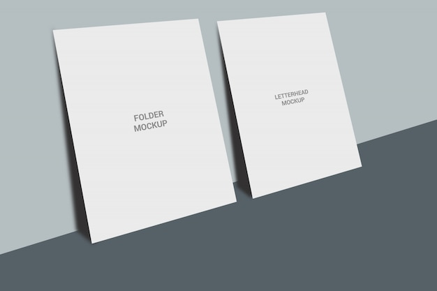 A4 letterhead and folder mockup