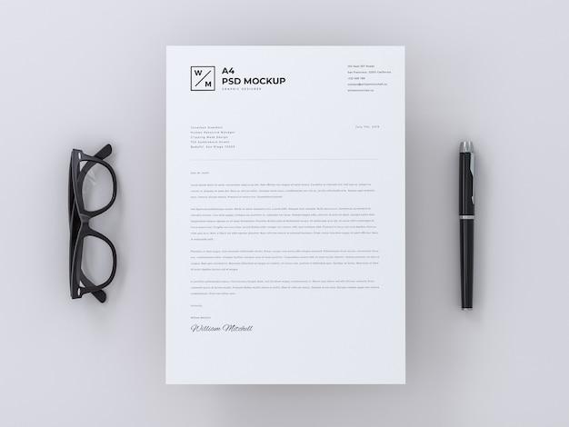 A4 letterhead mockup on minimal background