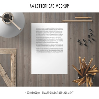A4 letterhead mockup with wooden elements