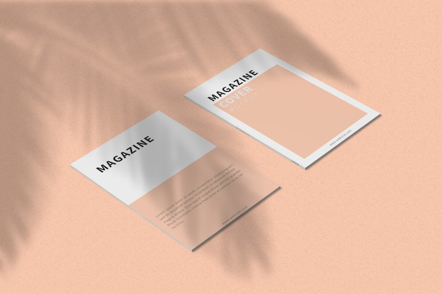 Обложка журнала а4 и макет задней обложки вид слева