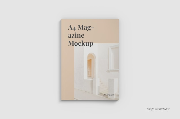 A4 magazine cover mockup top angle view