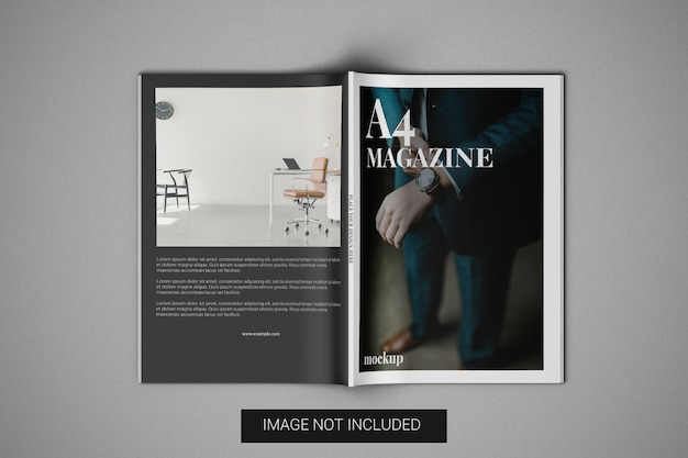 A4 magazine mockup front cover and back cover