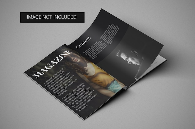 A4 magazine mockup left view