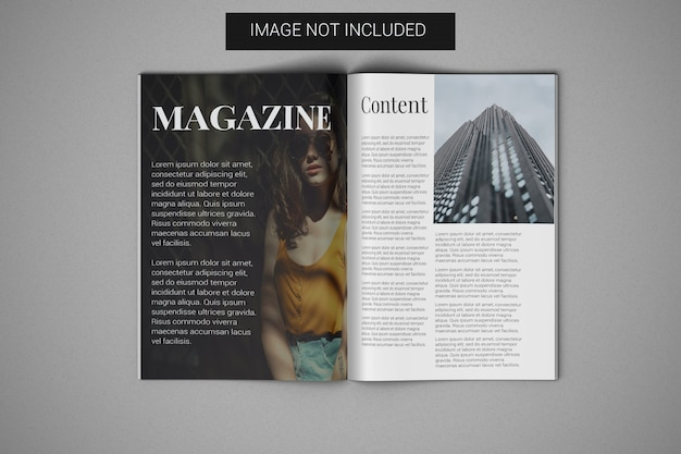 A4 magazine mockup open on the center page top view