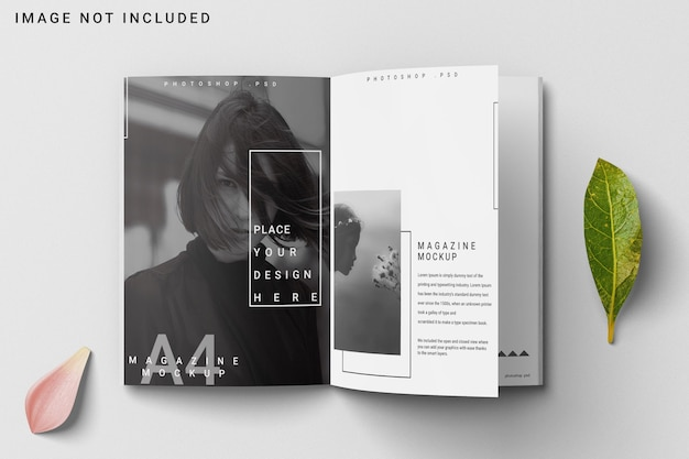A4 magazine mockup opened with flower