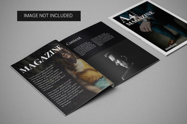 왼쪽 측면에 커버 모형이있는 a4 잡지 모형
