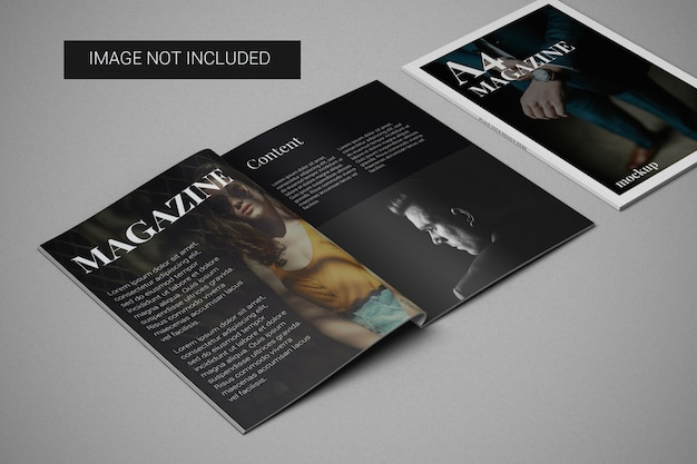 A4 magazine mockup with cover mockup on the side left view