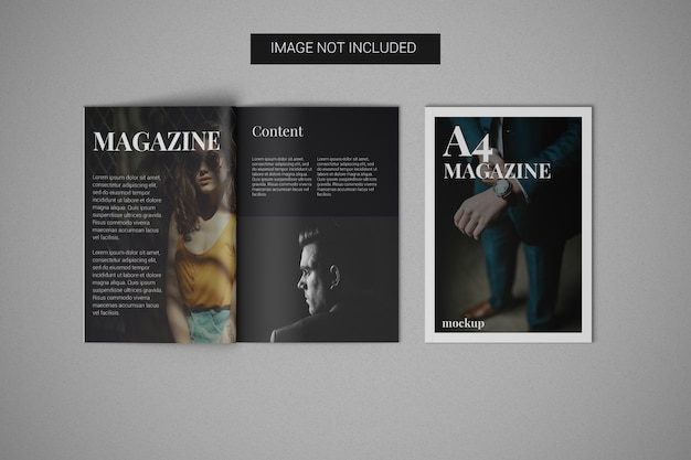 A4 magazine mockup with cover mockup on the side