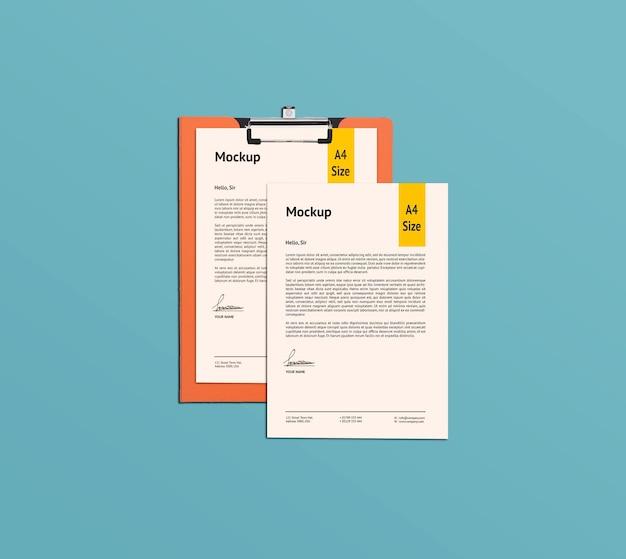 A4 페이지 및 클립 보드 목업