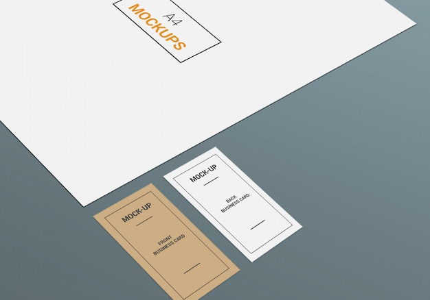 A4 page and business card mock-up