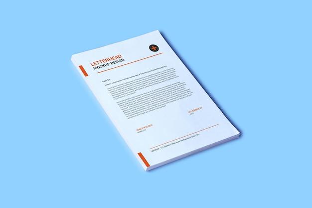 A4 ページのレターヘッド モックアップ デザイン