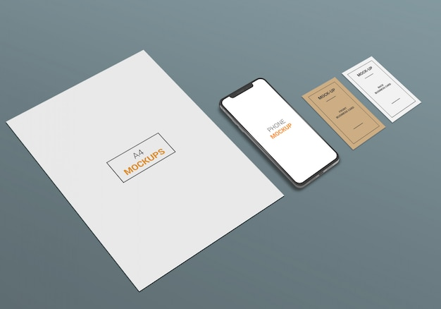 A4 page, phone and business card mock-up