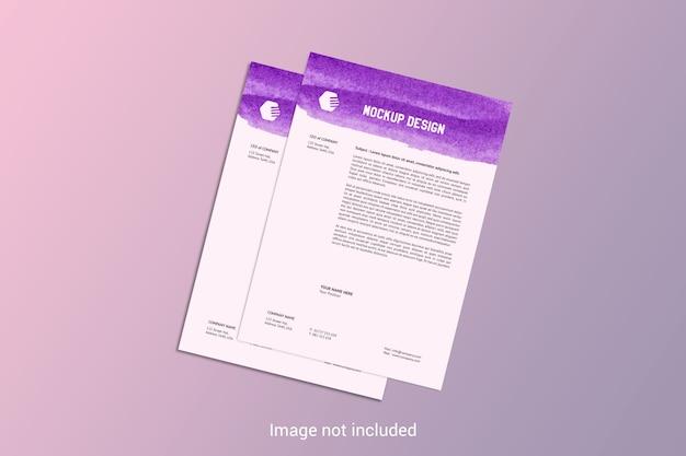 A4ページレターヘッドモックアップ