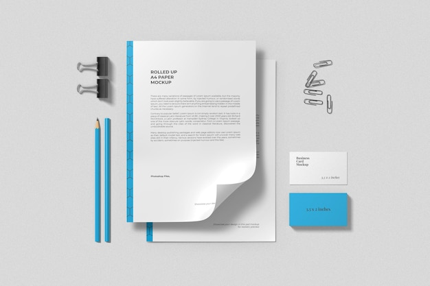 A4 paper and business card mockups