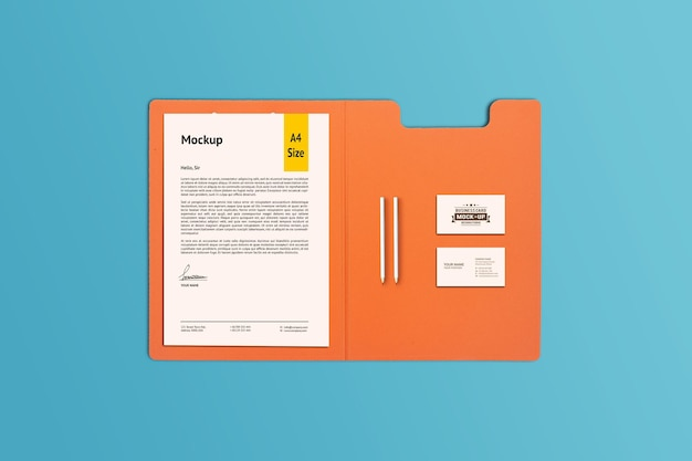 A4 paper, clipboard and business card mockup