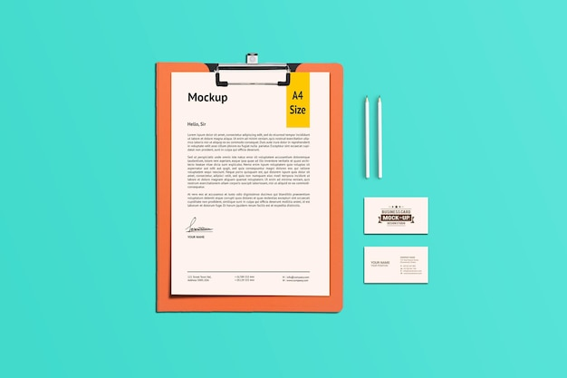 A4 paper and clipboard mockup